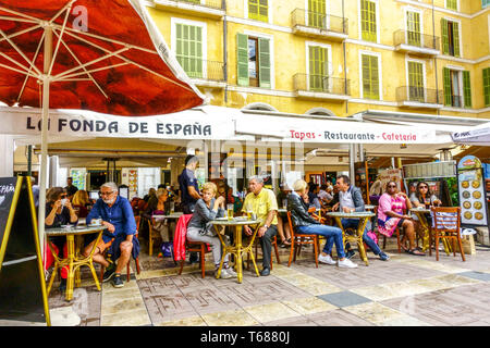 People, Tapas bar on  Plaza Mayor, Placa Major in Palma de Mallorca, Spain Europe - Stock Photo