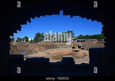 The Amphitheatre of Merida (Anfiteatro de Merida) is a ruined Roman amphitheatre situated in the Roman colony of Emerita Augusta, present-day Merida,  - Stock Photo