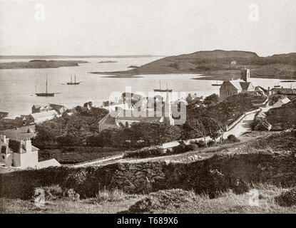 A 19th Century view of Killybegs, situated at the head of a scenic harbour in County Donegal, Ulster Provence, Ireland. It is now the largest fishing port on the island of Ireland. - Stock Photo