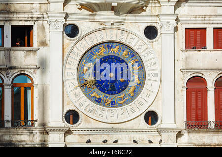 Astrological clock at Torre dell'Orologio in Venice - Stock Photo