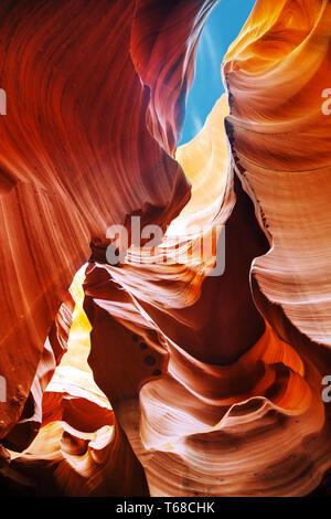 Lower Antelope Canyon view near Page, Arizona - Stock Photo