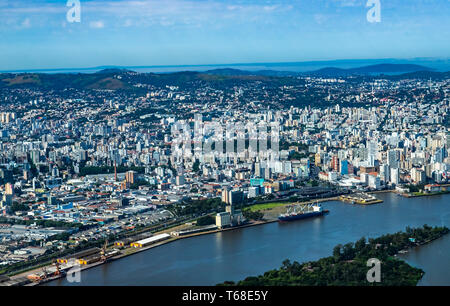 Large cities seen from above. City of Porto Alegre of the state of Rio Grande do Sul, Brazil South America. - Stock Photo