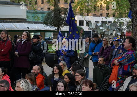 Hundreds of people gathered in Berkeley Square to sing a song from 1939 called 'A nightingale sang in Berkeley Square'.  Extinction Rebellion worked in collaboration with Sam Lee's 'Singing with Nightingales' & 'The Nest Collective'. - Stock Photo