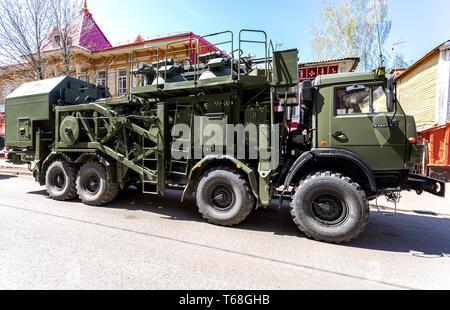Samara, Russia - May 5, 2018: Multi-purpose mobile communication complex. Telecommunication complex P-260T 'Redut-2US' with antenna module R-431AM - Stock Photo
