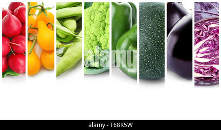 Different fresh vegetables on white background - Stock Photo