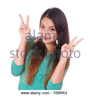 girl with scars from self-harm making victory sign - Stock Photo