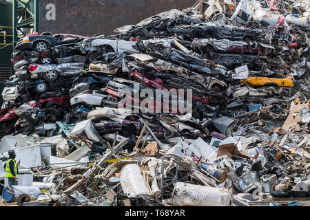 Scrap metal recycling facility in Lincoln Park - Stock Photo