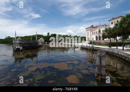 Miami, Florida, USA - 2019: View of the Vizcaya Museum and Gardens, the former villa and estate of businessman James Deering, located in Coconut Grove. - Stock Photo