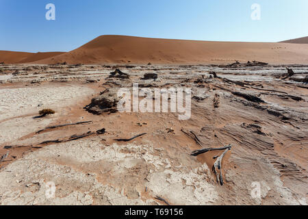 beautiful sunrise landscape of hidden Dead Vlei - Stock Photo