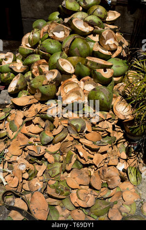 empty shels of fresh coconuts in the market - Stock Photo