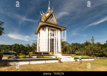 A monument in Phnom Penh to the victims of the Khmer Rouge at a  mass grave site Cambodia. - Stock Photo