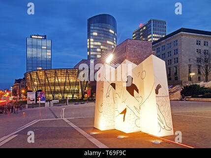 Square in front of the German Football Museum with the downtown skyline, Dortmund, Ruhr area,Germany - Stock Photo