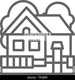 Vector country house, cottage landscape line icon. - Stock Photo