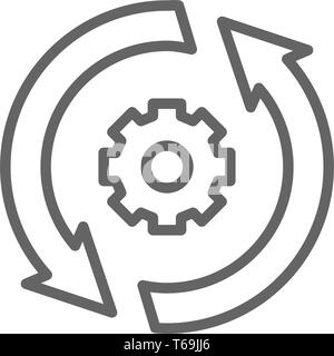 Gear wheel with two arrow, process, system update line icon. - Stock Photo
