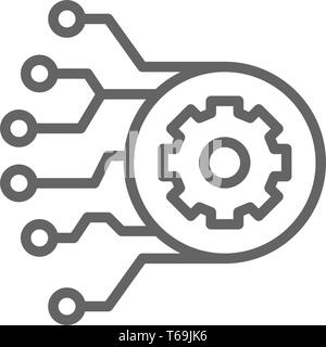 Gear with circuit board, artificial intelligence line icon. - Stock Photo