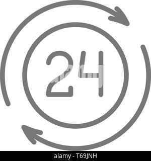 24 hour available services line icon. - Stock Photo