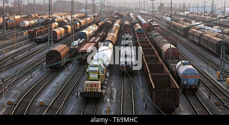 train formation yard Vorhalle, Hagen, Ruhr Area, North Rhine-Westphalian, Germany - Stock Photo
