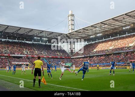 Game scene in the stadium, action, overview, Fabian HOLLAND r. (DA) versus Benno SCHMITZ (K), duels, Soccer 2. Bundesliga, 31. matchday, FC Cologne (K) - Darmstadt 98 (DA) 1: 2, the 26.04.2019 in Koeln/Germany. ## DFL regulations prohibit any use of photographs as image sequences and/or quasi-video ## ¬   usage worldwide - Stock Photo
