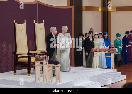Tokyo, Japan. 30th Apr, 2019. Japanese Emperor Akihito (L) and Empress Michiko attend a ritual ceremony for the Emperor's abdication in Tokyo, Japan, April 30, 2019. Japanese Emperor Akihito in his final speech as a monarch on Tuesday declared his abdication and said he sincerely hoped for a stable future for Japan and peace and happiness around the world. Credit: Imperial Household Agency Handout/Xinhua/Alamy Live News - Stock Photo