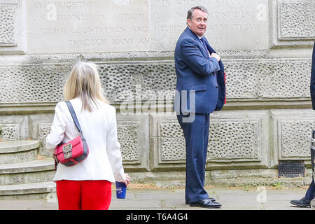 Downing Street, London, UK. 30th Apr, 2019. Liam Fox - Secretary of State for International Trade and President of the Board of Trade (R) and Liz Truss - Chief Secretary to the Treasury (L) departs from No 10 Downing Street after attending the weekly Cabinet Meeting. Credit: Dinendra Haria/Alamy Live News - Stock Photo