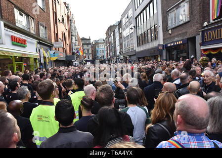 Old Compton Street, London, UK. 30th Apr, 2019. The vigil in Old Compton Street on the 20th anniversary of the Admiral Duncan nail bombing. Credit: Matthew Chattle/Alamy Live News - Stock Photo