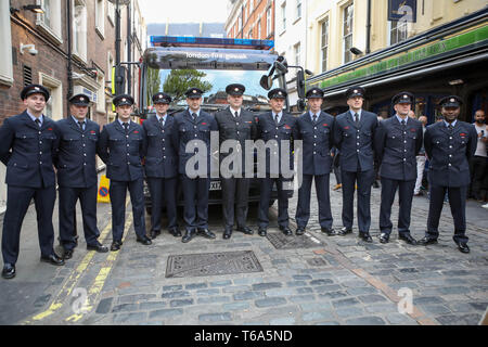 Soho, London, UK. 30th Apr, 2019. 20th anniversary of the tragic bombing at gay pub Admiral Duncan in Soho with a community-led act of Remembrance outside the historic venue in Old Compton Street. On the same day in 1999, a nail bomb attack at the pub in Soho killed three people and wounded 79. Four of the survivors had to have limbs amputated. Credit: Penelope Barritt/Alamy Live News - Stock Photo