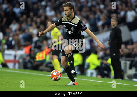 London, UK. 30th Apr, 2019. Joel Veltman of Ajax in action. UEFA Champions league match, semi- final, 1st leg match, Tottenham Hotspur v Ajax at The Tottenham Hotspur Stadium in London on Tuesday 30th April 2019. this image may only be used for Editorial purposes. Editorial use only, license required for commercial use. No use in betting, games or a single club/league/player publications . Credit: Andrew Orchard sports photography/Alamy Live News - Stock Photo