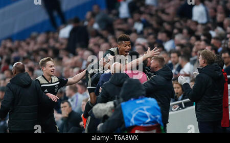 London, UK. 30th Apr, 2019. Ajax's players celebrate during the UEFA Champions League semifinal first leg soccer match between Tottenham Hotspur and Ajax at the Tottenham Hotspur Stadium in London, Britain on April 30, 2019. Ajax won 1-0. Credit: Han Yan/Xinhua/Alamy Live News - Stock Photo