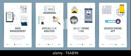 Web banners concept in vector with data management, application analysis, smartphone data and search engine app. Internet website banner concept with  - Stock Photo
