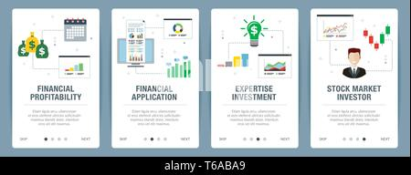 Web banners concept in vector with financial profitability, financial application, expertise investment and stock market investor. Internet website ba - Stock Photo