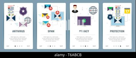 Vector set of vertical web banners with antivirus for protection,  blocking spam, protect of privacy, virus and phishing. Vector banner template for w - Stock Photo