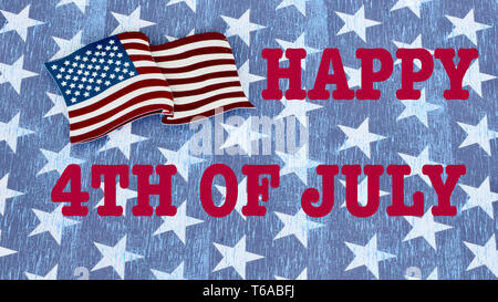 American flag laying flat on a blue and white stars background with Happy 4th of July in red text - Stock Photo
