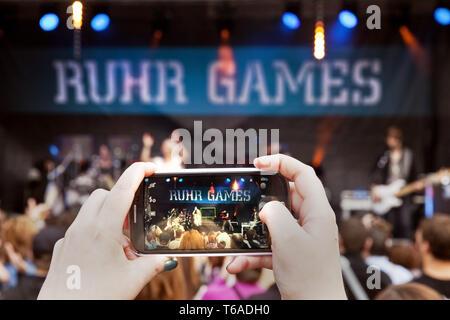 concert of Luxuslaerm, Ruhr Games, Zollverein Coal Mine, Essen, Ruhr Area, Germany, Europe - Stock Photo