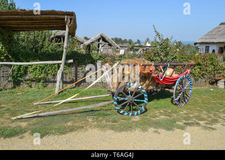 The cart without a horse with hay and pumpkins - Stock Photo