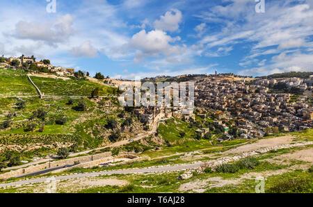 Arab neighborhood near the Old City in Jerusalem, Israel. - Stock Photo
