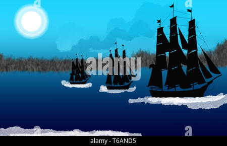 Boats on the Sea Background. Scene with pirate ship. Fantastic background with pirate ship sailing in the ocean. Pirate ship approaching the island.
