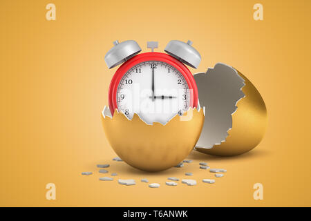 3d close-up rendering of red alarm clock inside of half gold eggshell with the other eggshell behind on ocher background. - Stock Photo
