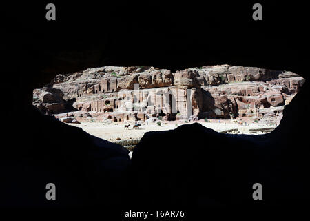 A view of the Royal tombs in Petra, Jordan. - Stock Photo