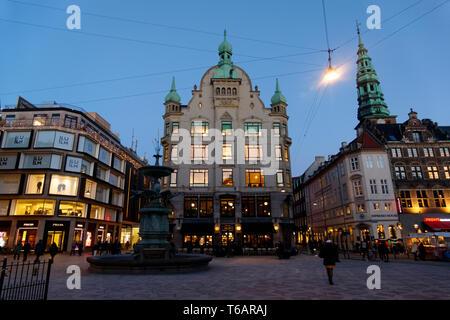 Gammel Torv, the Old Square, Stroget pedestrian street at night, Copenhagen, Denmark, Scandinavia, Europe - Stock Photo