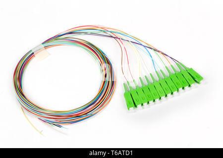 green fiber optic SC connectors - Stock Photo