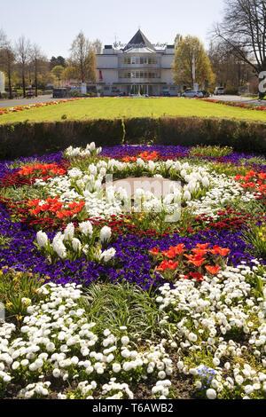 flowerbed at the Wasserbahnhof Muelheim an der Ruhr in spring, North Rhine-Westphalia, Germany - Stock Photo