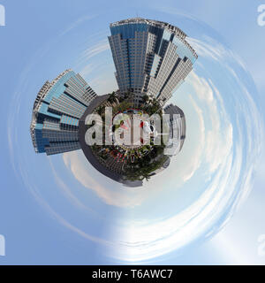 Building on main street in central Jakarta - Stock Photo