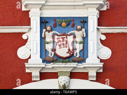 City Hall with City Arms, Baroque west wing, detail, Soest, North Rhine Westphalia, Germany, Europe - Stock Photo