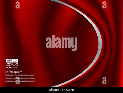 Abstract red design of curves or cloth or liquid wave illustration background - Stock Photo