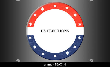 illustration banner with round shape american flag. Presidental election in USA. - Stock Photo