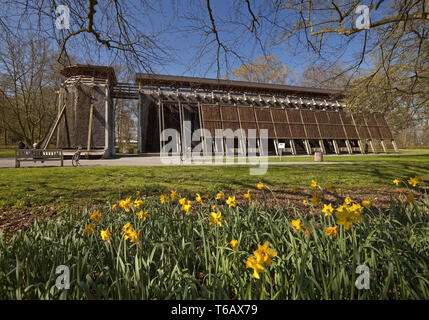 Graduation tower in spa park in spring, Hamm, Ruhr Area, North Rhine-Westphalia, Germany - Stock Photo