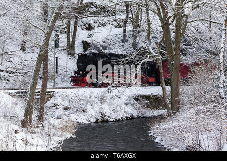 Narrow-Gauge Railway called Harzquerbahn, Selketal, Harz Mountains, Germany - Stock Photo