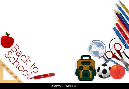 Back To School Banner Background vector illustration - Stock Photo