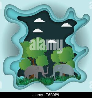 Paper carve to Landscape with elephant and tree In nature ecology idea abstract background, vector illustration - Stock Photo