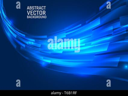 Geometric blue color abstract background. Design wave style with copy space - Stock Photo